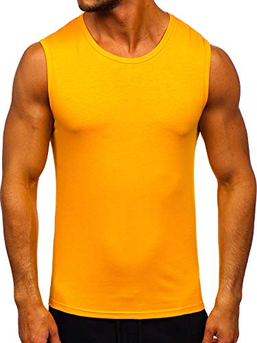 BOLF Herren Tank Top Ärmellose Tankshirt Muskelshirt Bodybuilding Unterhemd T-Shirt Tee Rundhalsausschnitt Aufdruck Basic Training Sport Fitness Slim Fit J.Style 99001-1 Orange L [3C3]