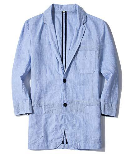 utcoco Men's Fashion Summer Notched Collar 2 Button Slim 3/4 Sleeve Linen Blazer Jacket (Large, Blue)