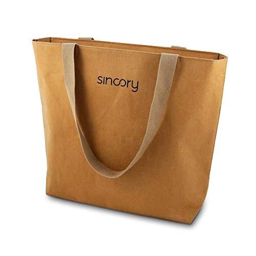 sincory one - Damen-Handtasche - nachhaltig und vegan - Einkaufstasche, Schultertasche, Shopper - ideales Frauen-Accessoire aus Kraft-Papier für Frühling/Sommer 2021