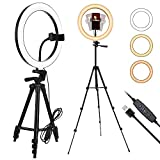 ZUOCHEN Selfie Ring Light with Tripod Stand and Flexible Phone Holder 10' LED Ring Light 3 Color Mode 10 Brightness Level 3500-6500K for Live Stream Portrait YouTube Makeup, Fit for iPhone & Android