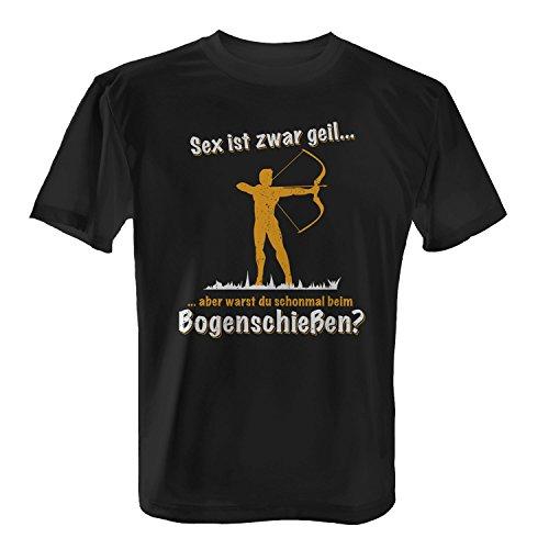 Fashionalarm Herren T-Shirt - Sex ist zwar geil - Bogenschießen | Fun Shirt mit Spruch & Motiv als lustige Geschenk Idee Bogenschütze Bogen Sport, Farbe:schwarz;Größe:XL