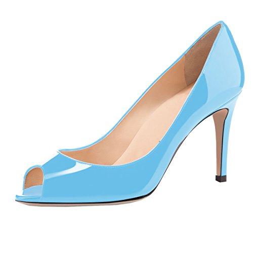 elashe Damen Peeptoe Pumps | 8cm Stiletto High Heel | Bequeme Lack Stilettos Himmelblau EU35