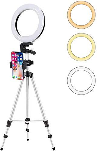 Dimbare lichtring met statief Stand & amp. Telefoonhouder LED Selfie Light met 3 lichtmodi Invullichtset voor make-up/livestream/YouTube/Vlog(Upgrade)