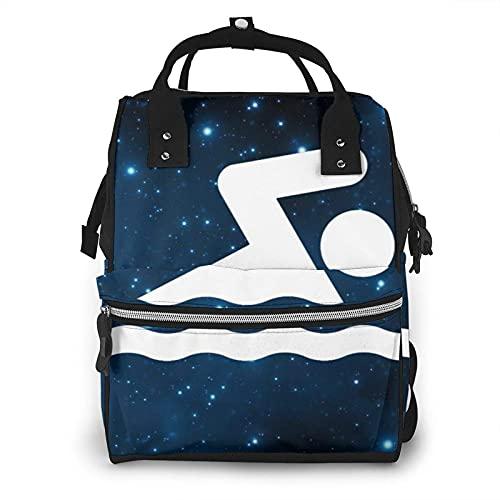 Bolsa de pañales de natación con signo de múltiples funciones para el cuidado del bebé impermeable amplia mochila de viaje abierta para la organización