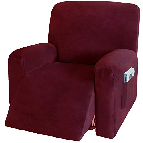 4 Pieces Stretch Velvet Recliner Chair Covers, Thick & Soft Lazy Boy Slipcover Recliner with Side Pocket (Burgundy) -  NC HOME