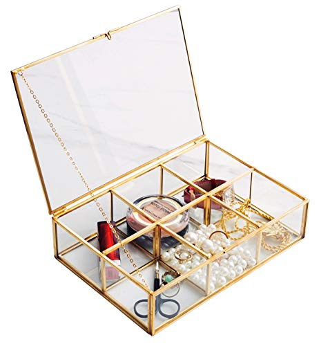 Golden Vintage Glass Box Clear Glass & Brass Metal Storage Jewelry and Cosmetic Makeup Lipstick Holder Organizer Beauty Display, 6 Compartment