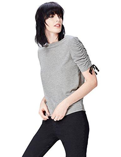 Marchio Amazon - find. T-shirt Girocollo Donna, Grigio (Grey Marl/black Ties), 40, Label: XS