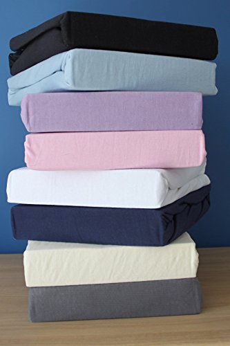 Super Soft Luxry Premium Quality 100% Cotton Jersey Fitted Sheet. (Single Bed, Blue)