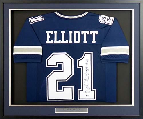 Dallas Cowboys Ezekiel Elliott Autographed Framed Blue Jersey Beckett BAS Stock #151434
