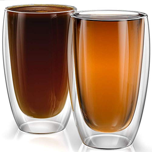 Stone & Mill Large Double Wall Drinking Glasses Set of 2 - 15 Ounce - Insulated Glass Cups for...