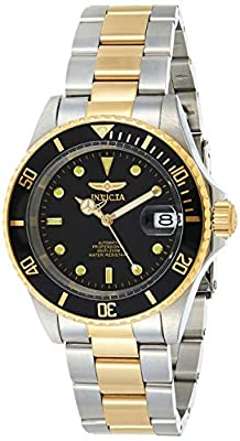 Invicta Men's Pro Diver 40mm Steel and Gold Tone Stainless Steel Automatic Watch with Coin Edge Bezel, Two Tone/Black (Model: 8927OB)