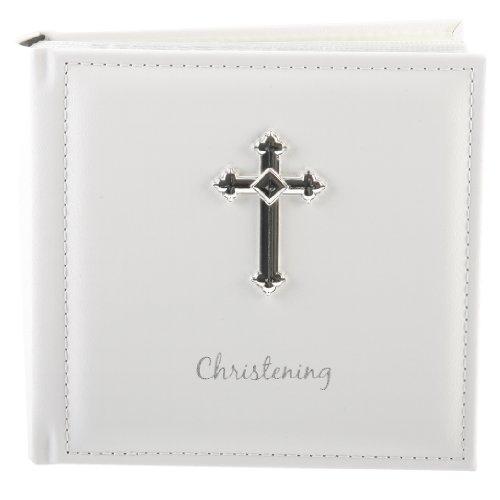 White PU Christening Photo Album with Cross 100 x 4 x 6 by Widdop Bingham