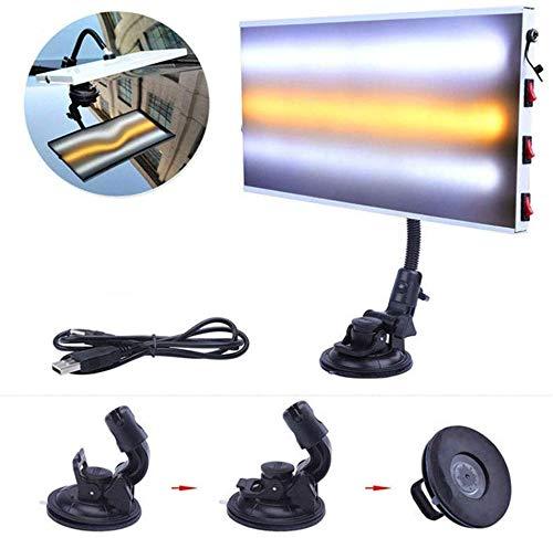 Coche Marca Herramienta Reparación Luz LED, sin Pintura Hail Eliminación Automotive Cuerpo Lámpara Kit, Reflector Tabla LED para Desabolladura, con 5V 5m USB Línea - Blanco Negro