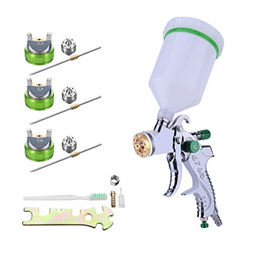 HVLP Gravity Feed Air Spray Gun 3 Nozzles 1.4/1.7/2mm Nozzle Size 600cc Cup