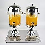 Edelstahl Buffet Getränkeautomat Getränkeautomat Saft Ding, Double-Hahn Kohlensäurehaltige Getränke Automat Hotel Restaurant Buffet Milch Barrel (silber) ( Farbe : Silber , Größe :...