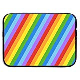 15 Inch Laptop Sleeve Briefcase Rainbow Diagonal Stripes Neoprene Waterproof Handbag Protective Bag Cover Case for Surface Laptop/Notebook/Acer/Asus/Dell/Lenovo/iPad/Surface Book