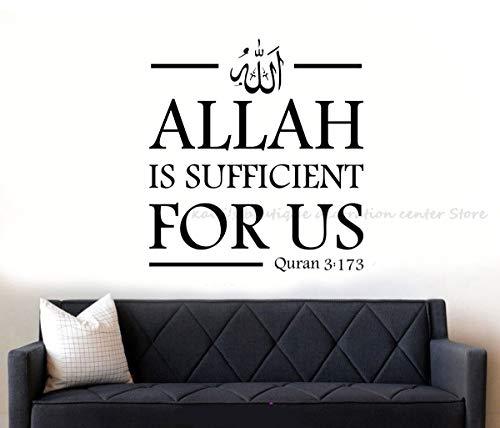 Haus Dekoration Islam Allah Wandaufkleber Mohammed Quran 3: 173 Vinyl Aufkleber Muslim Familie Wohnzimmer Schlafzimmer-Dekoration-Aufkleber Aufkleber 2MS60 (Color : Grau, Size : 57x62cm)