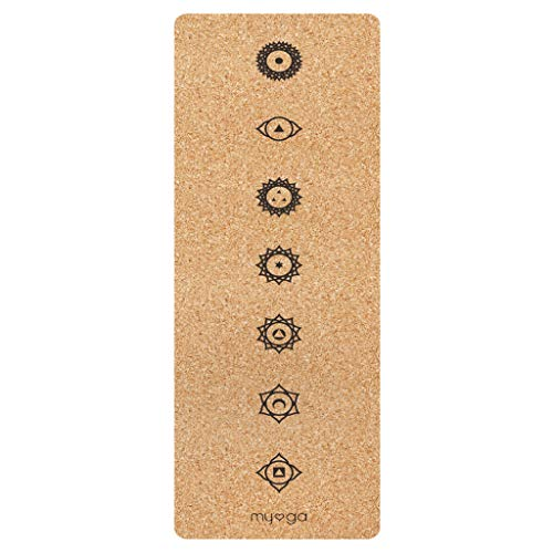 Myga RY1320 Chakra XL - Esterilla de yoga de corcho, respetuosa con el medio ambiente, con gran agarre, 205 x 70 cm, 6 mm de grosor