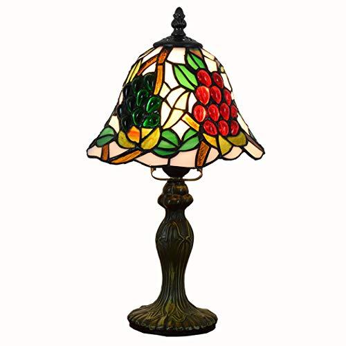 QCKDQ Antike Schreibtischlampe, 20 cm Kreative Tiffany Stil Glasmalerei Trauben Persönlichkeit Dekorative Tischlampen, Für Wohnzimmer Kinder Schlafzimmer Nacht Kommode Couchtisch