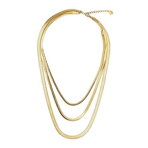 Colours & Beauty - Collar de mujer de acero fino y cadena para hombre de acero plateado, cadena de serpiente para hombre y mujer, collar de mujer,