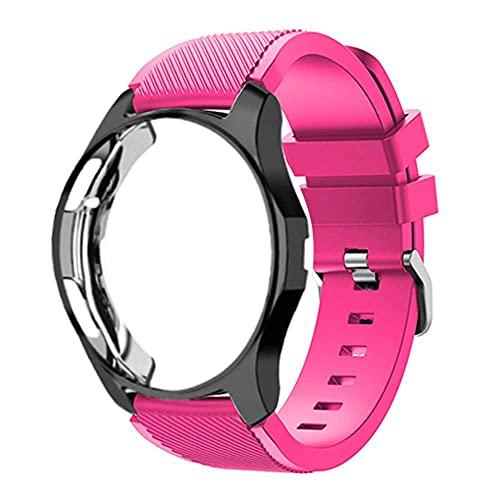 Correas Solo Loop y Funda con Vidrio Templado Compatible con Samsung Galaxy Watch 42mm / Gear sport S2, HD Protección Completa Carcasa, 20mm Repuesto de Silicona Deporte Strap Polvo de Barbie