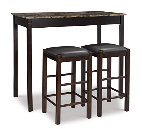 Linon Brown 3-Piece Table Faux Marble Tavern Set, 42