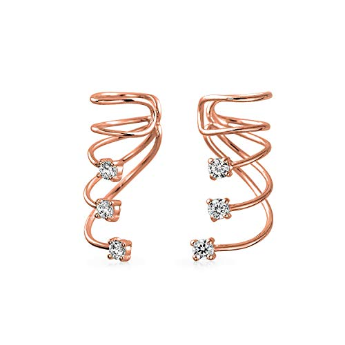 Minimalist Triple Spiral CZ Wire Cartilage Ear Cuff Wrap Cubic Zirconia Helix Earring Rose Gold Plated Sterling Silver
