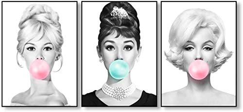 HHLSS Estilo nórdico 3 Piezas 60x80cm sin Marco Audrey Hepburn Bubble Gum Carteles de Moda Brigitte Bardot y Marilyn Monroe Imprime Cuadros de Pintura decoración del hogar