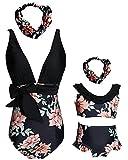 Mommy and Me Family Matching Swimsuit Flowers Print One Piece Bikini Set Backless Swimwear Size 2-3 Years