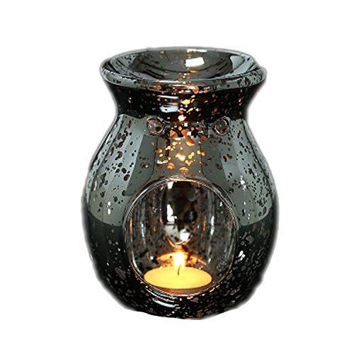 Estufa de aromaterapia individual Quemador de incienso Hecho a mano Vintage Plateado Vidrio Aromaterapia Horno de aceite esencial Lámpara de fragancia Titular de vela Decoración para el hogar Adornos