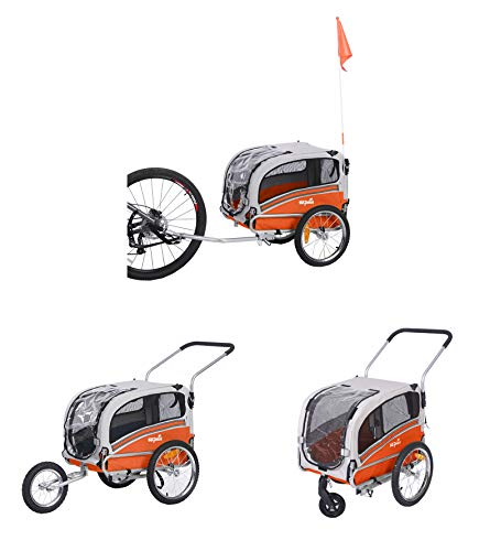 "Sepnine & Leonpets pet Carry of 2 in1 pet Dog Bike Trailer Bicycle Trailer and Jogger 20303 with a 6"" Swivel Wheel Free"