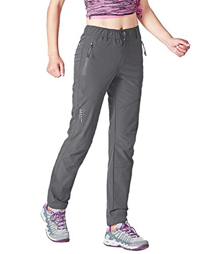 Gopune Women's Outdoor Quick Dry Lightweight Hiking Mountain Pants with Zipper Pockets (Deep Grey,S)