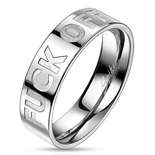 Bungsa® Unisex-Ring FUCK OFF Silber aus 316L Edelstahl (60 (19.1))