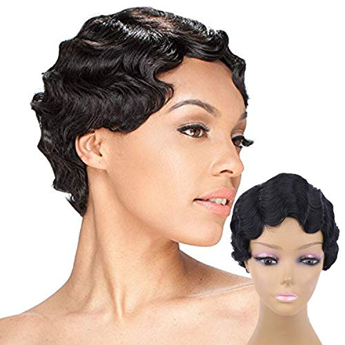 Short Wig Black Curly Wig Finger Wave Synthetic Full Wig Fashion Wigs Cosplay (Black)