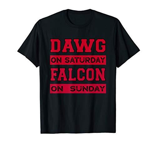 Dawg on Saturday Falcon on Sunday Atlanta Athens Football T-Shirt