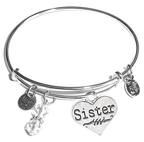 Women's Stainless Steel Message Charm Expandable Wire Bangle Bracelet, Very Popular and Stylish, Arrives in a Gift Box. (Sister (Heart))