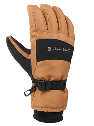 Carhartt Men's WP Waterproof Insulated Glove, Brown/black, Large