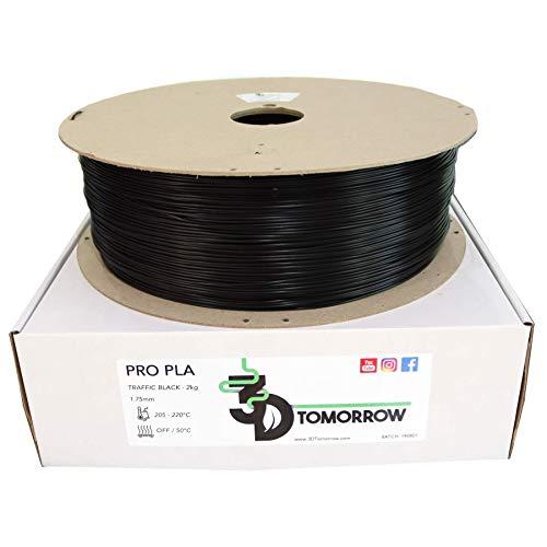 3DTomorrow 2kg Traffic Black Pro PLA Filament 1.75mm, 100% Recyclable Cardboard Spool Eco Friendly 3D Printer Filament
