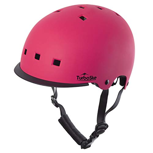 TurboSke Toddler Kids Bike Helmet - Size Adjustable for 3-8 Children Bicycle Skate Skateboard and Scooter, CPSC and ASTM Dual Certified Multi-Sports Safety Helmet for Boys and Girls (Pink)