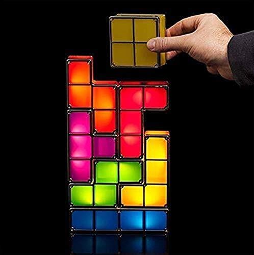 [LOSCHEN] Tetris Night Light,DIY Stackable LED 7 Colors Interlocking Induction Novelty Desk Lamp,3D...