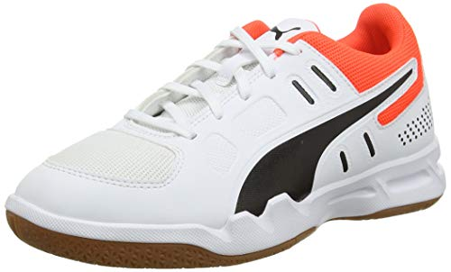 PUMA AURIZ JR, Zapatillas de Balonmano Unisex Adulto, Blanco White Black/Nrgy Red/Gum, 39 EU