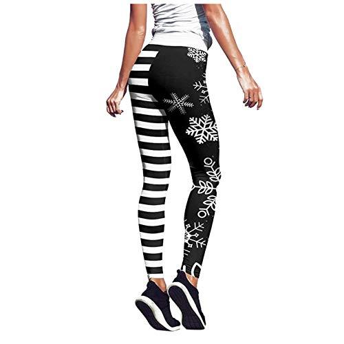 Womens Christmas Snowflake High Waisted Strechy Leggings Digital Print Workout Fitness Sports Active Yoga Pants (Black, M)