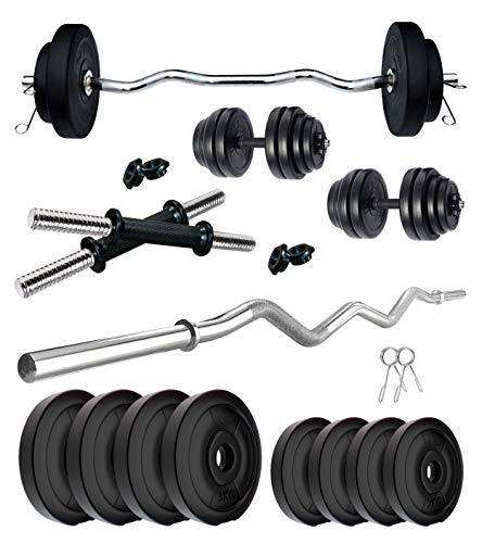 Kore PVC 20 Kg Home Gym Set With One 3 Ft Curl Rod And One Pair Dumbbell Rods, Multicolour