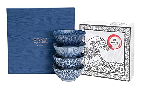 TOKYO design studio Nippon Blue 4-er Schalen-Set blau-weiß, Ø 15 cm, ca. 500 ml, asiatisches Porzellan, Japanisches Design mit blauen Mustern, inkl. Geschenk-Verpackung