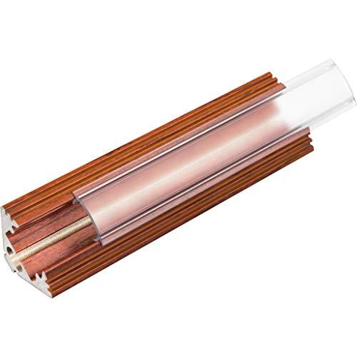 2m Aluminium Einlassprofil P3 für LED-Streifen mit 2 Montageklammern und 4er Pack Endkappen (palisander, Abdeckung Klar)