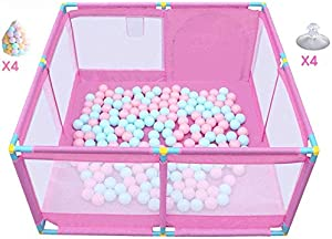 Playpens Large with 200 Balls Portable Baby Indoor Outdoor  Boys Girls Safety Play Center Yard Folded Toddlers Home Activity Area Fence  Pink