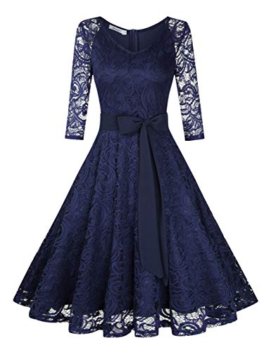 KOJOOIN Damen Vintage Kleid Brautjungfernkleid Knielang Langarm Spitzenkleid Cocktailkleid Dunkelblau Navyblau M