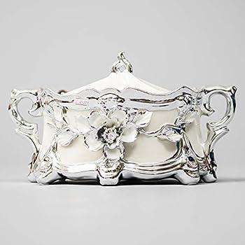 Sopera De Oricha Obatala Blanca con decoraciones plateadas