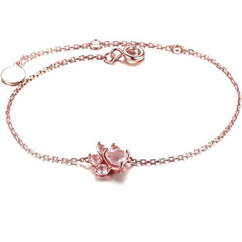 Pulsera de pata de gato Pulsera de plata de ley con oro rosa Pulsera de circonita cúbica para mujer...