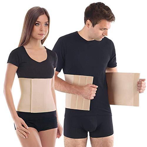 Cinturón postoperatorio abdominal con algodón Faja postparto y postoperatorio Apoyo de los músculos abdominales y lumbosacro Altura 24 cm Unisex Large Beige
